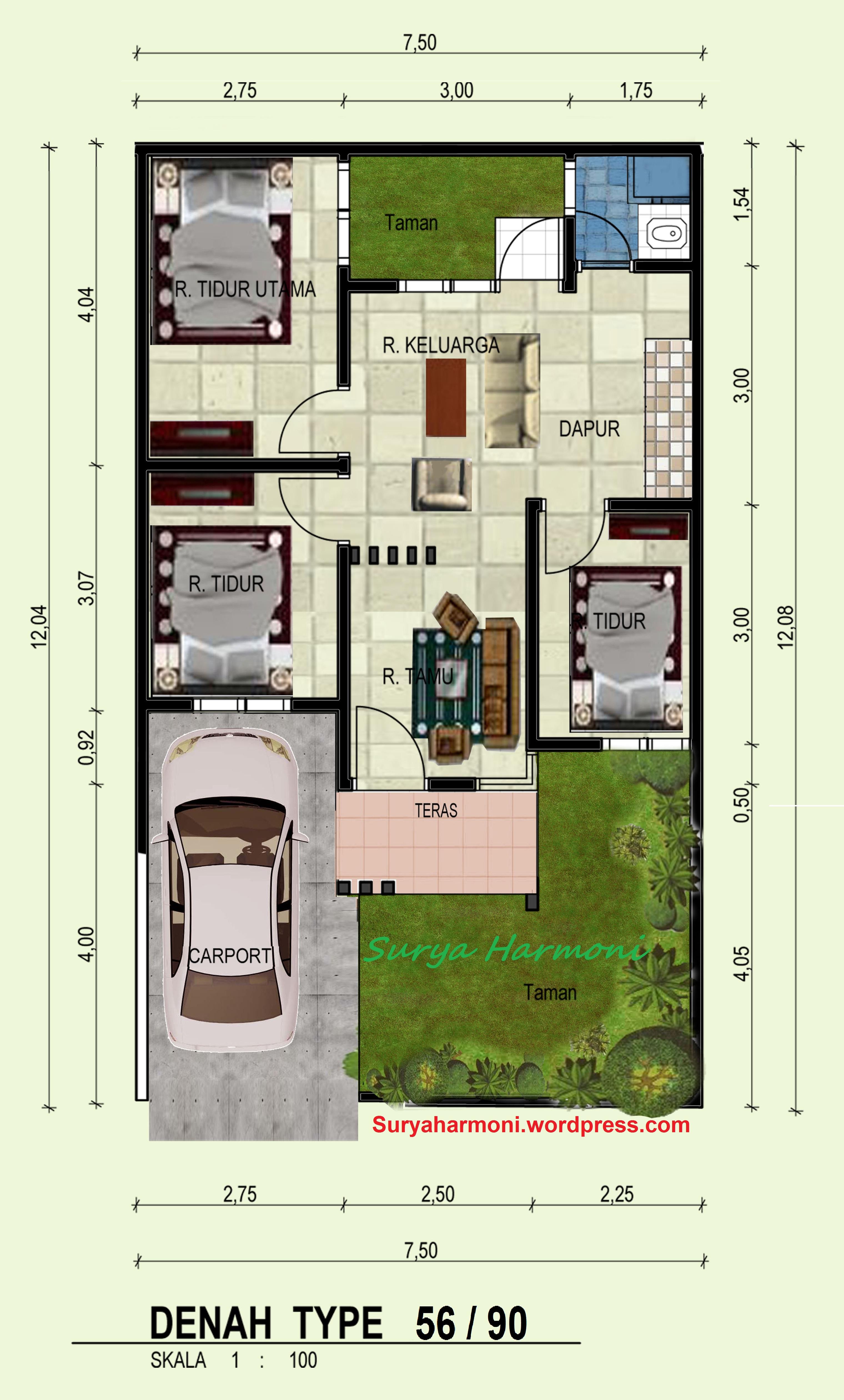 Denah Rumah Type 54 Luxury Rumah Minimalis 78